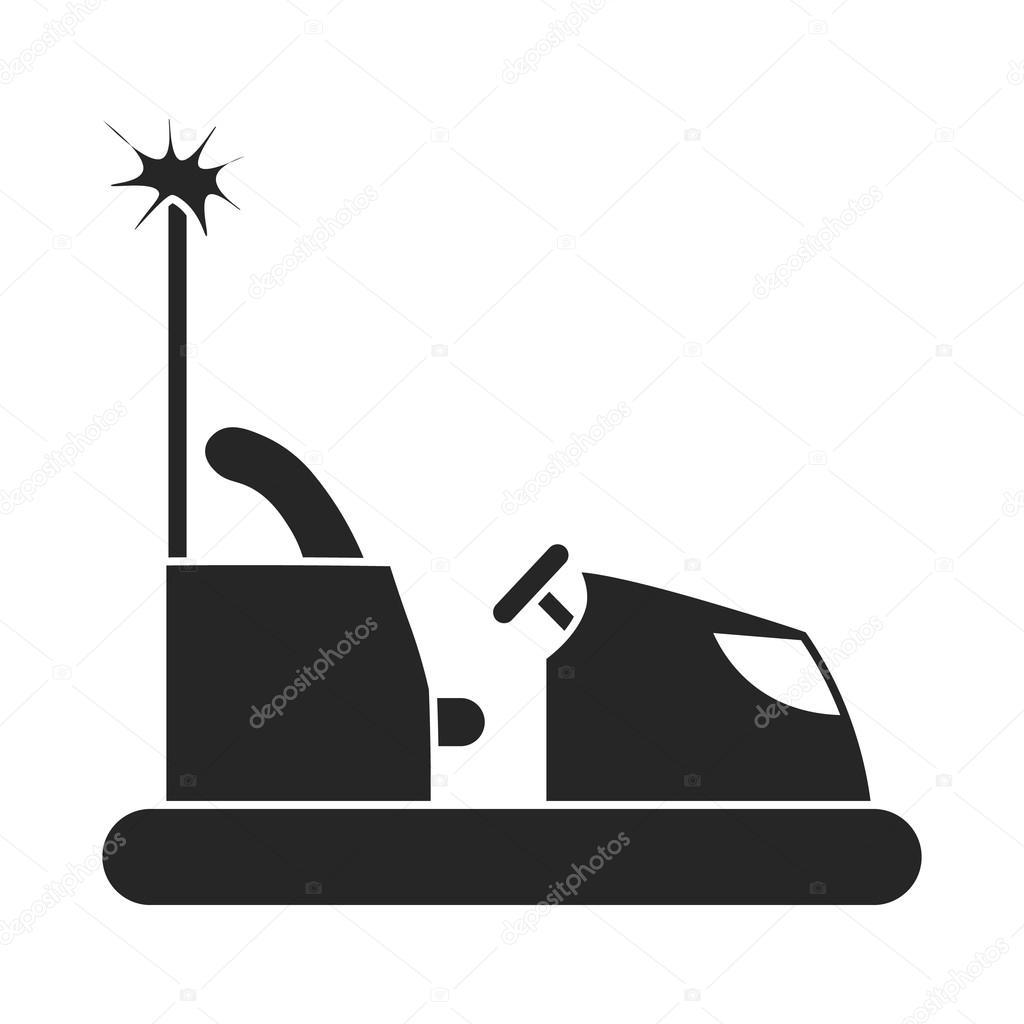 çarpışan Araba Simgesinde Siyah Stil Beyaz Arka Plan üzerinde Izole