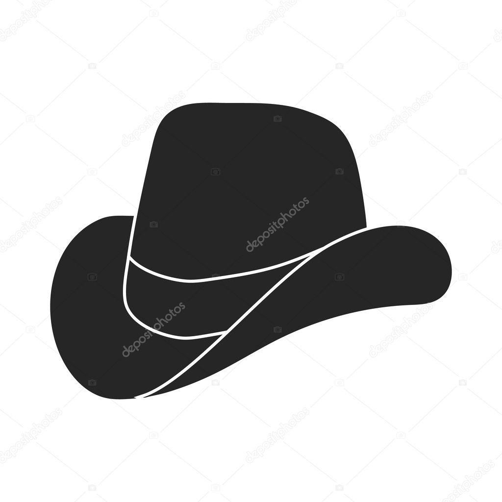 Icono del sombrero de vaquero en estilo negro aislado sobre fondo blanco.  Ilustración de vector de patriota día símbolo — Vector de PandaVector ee68f827fe6