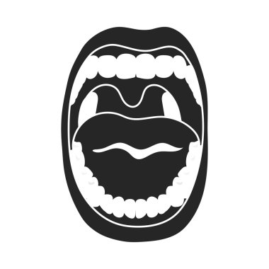 Mouth icon in black style isolated on white background. Organs symbol stock vector illustration.