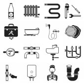 Plumbing set icons in black style. Big collection plumbing vector symbol stock illustration