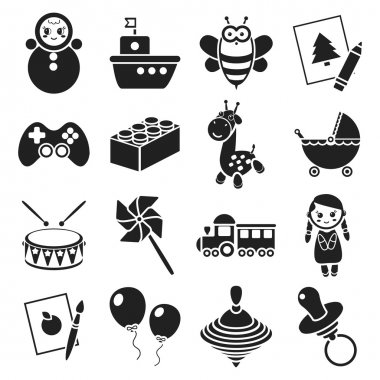 Toys set icons in black style. Big collection toys vector symbol stock illustration