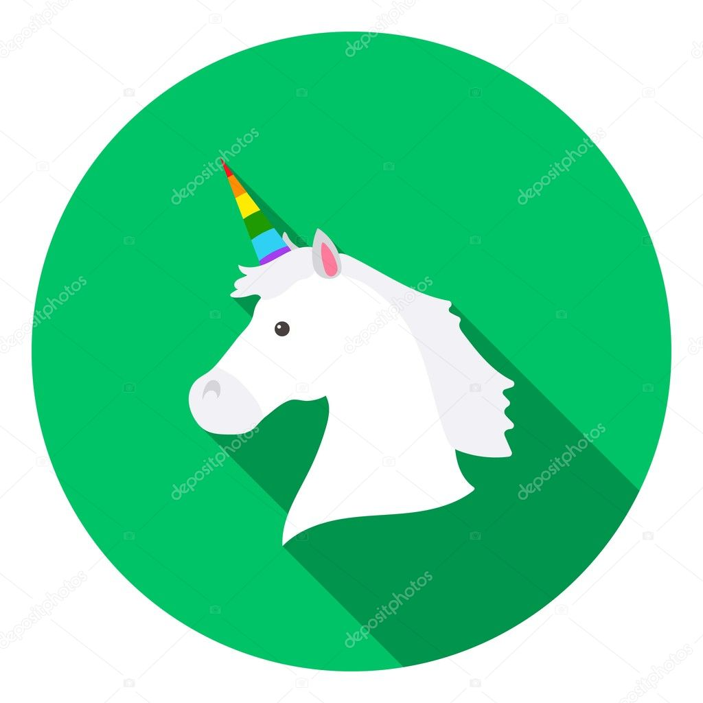 Unicorn Icon In Flat Style Isolated On White Flat Gay Symbol Stock