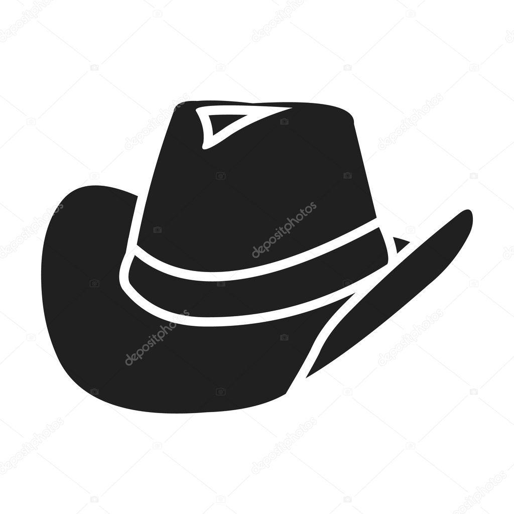 Icono del sombrero de vaquero en estilo negro aislado sobre fondo blanco.  Ilustración de vector de wlid oeste símbolo - icono del sombrero de vaquero  ... 04d58ccbd58