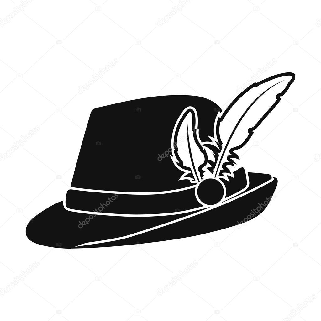 044163948e46e Ícone de chapéu tirolês no estilo preto isolado no fundo branco. Ilustração  em vetor símbolo Oktoberfest — Vetor de PandaVector