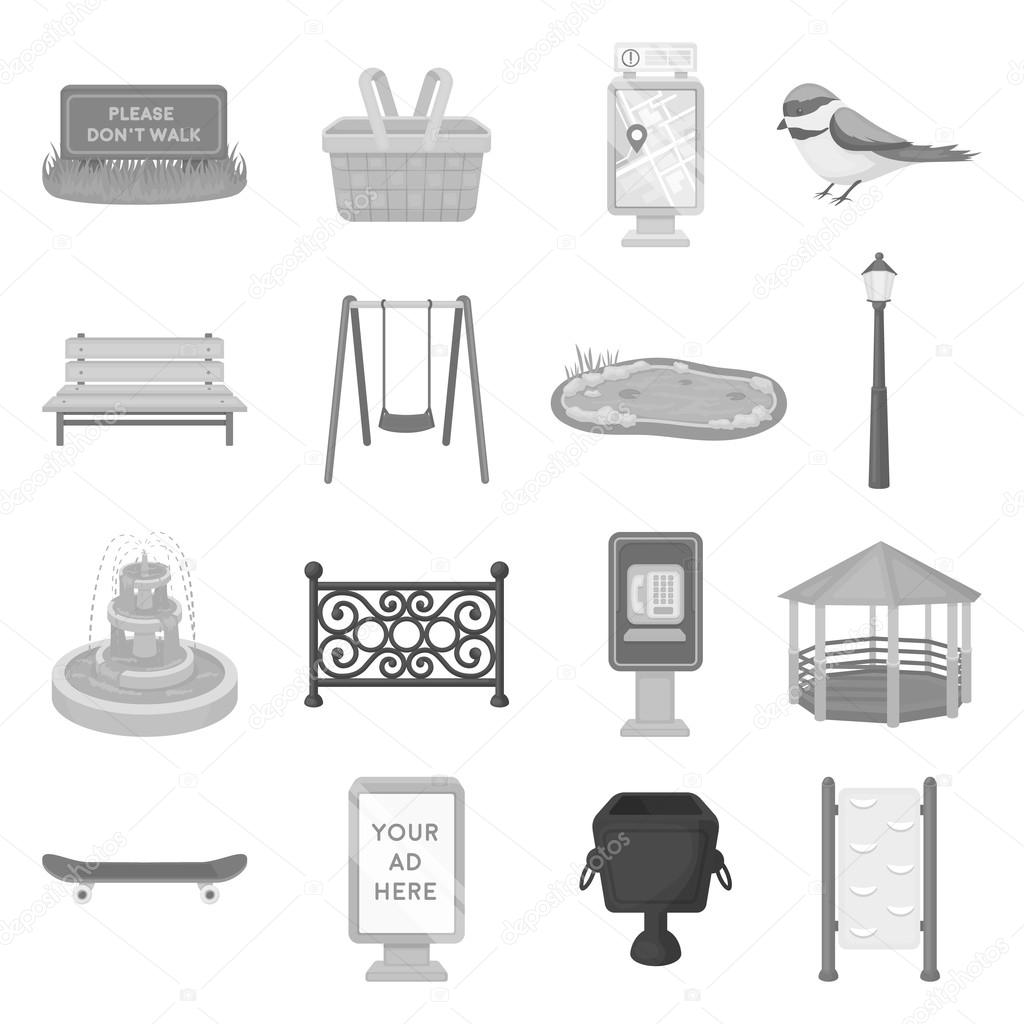 Park set icons in monochrome style. Big collection of park vector symbol stock illustration