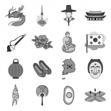 South Korea set icons in monochrome style. Big collection of South Korea vector symbol stock illustration