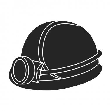 Miners helmet icon in black style isolated on white background. Mine symbol stock vector illustration.