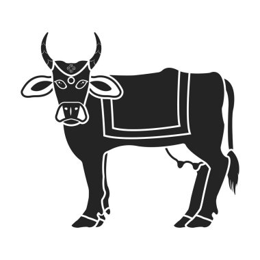 Sacred cow icon in black style isolated on white background. India symbol stock vector illustration.