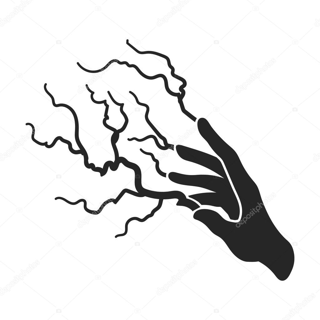 Lightning spell icon in black style isolated on white ...