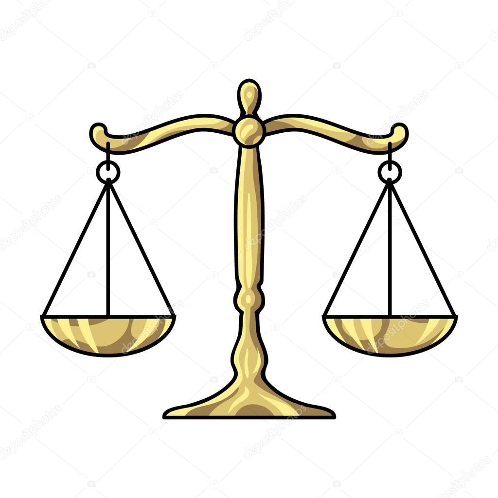 Scales Of Justice Icon In Cartoon Style Isolated On White Background