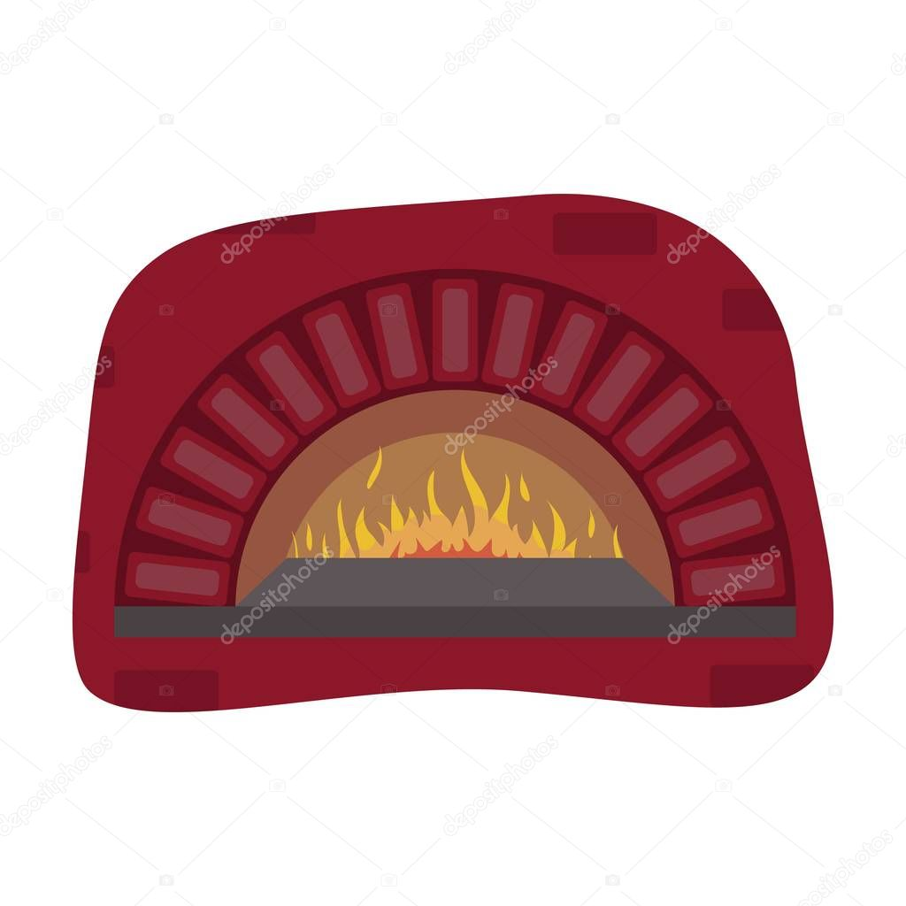 ic ne du four au feu de bois dans le style de dessin anim isol sur fond blanc pizzas et. Black Bedroom Furniture Sets. Home Design Ideas