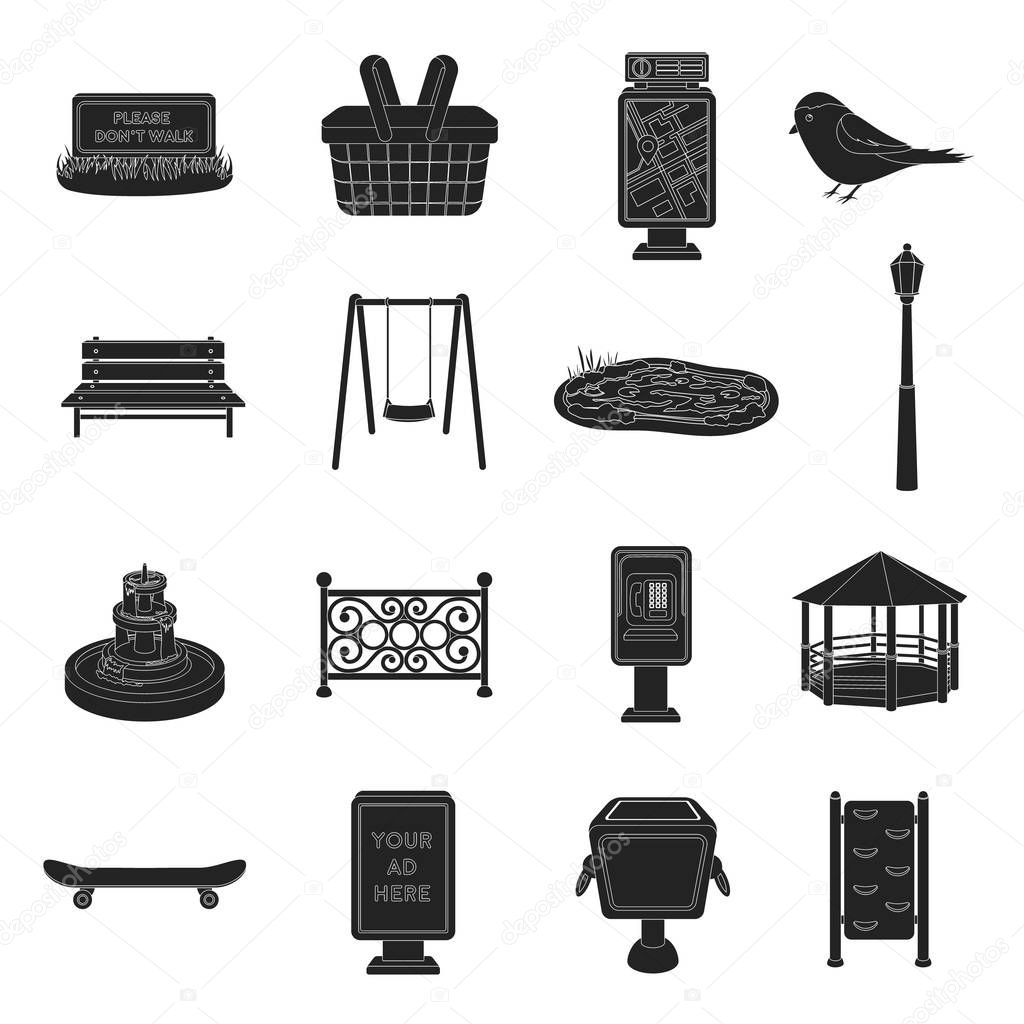 Park set icons in black style. Big collection of park vector symbol stock illustration