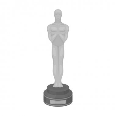 Academy award icon in monochrome style isolated on white background. Films and cinema symbol stock vector illustration.