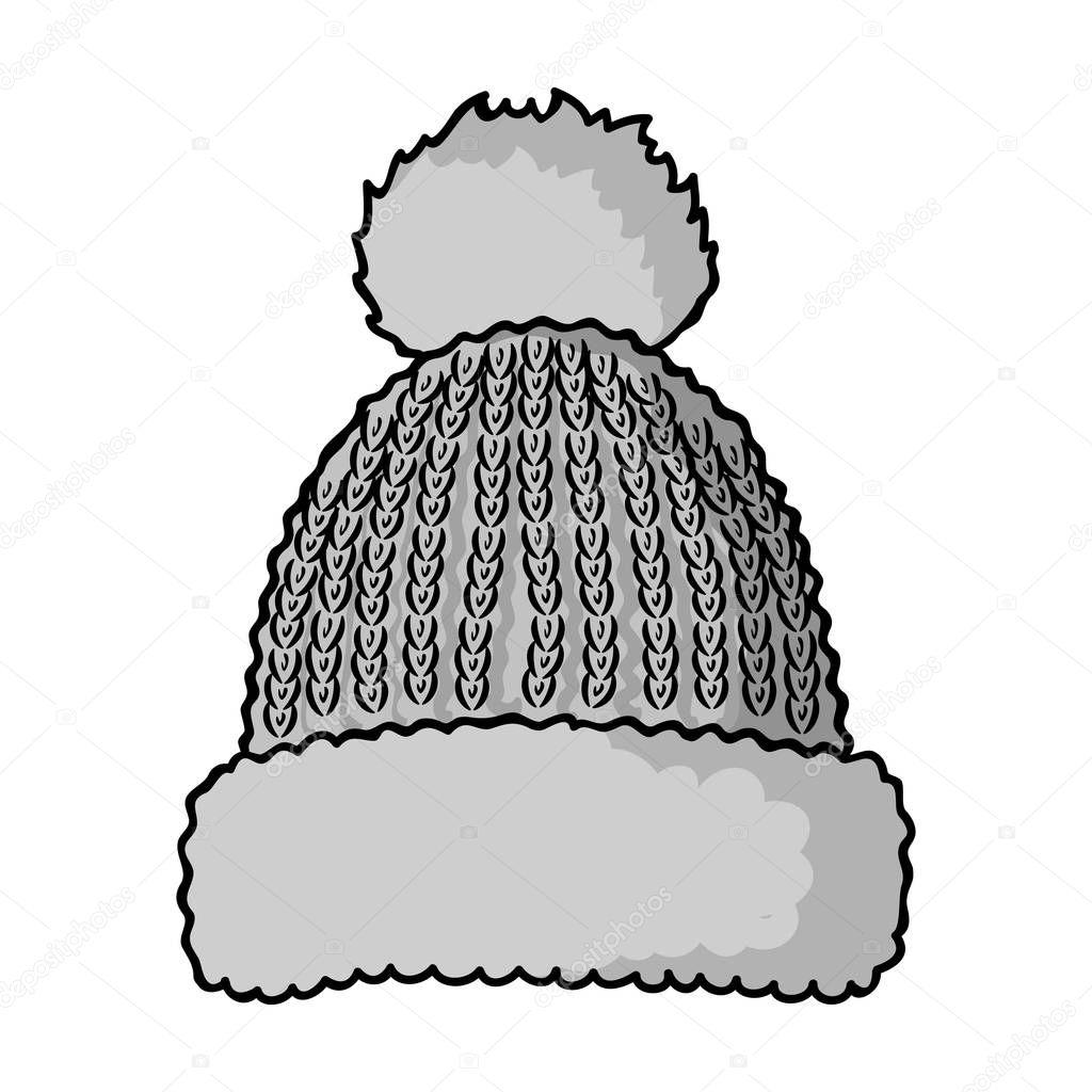 Icono de gorro tejido en estilo monocromo aislado sobre fondo blanco ...
