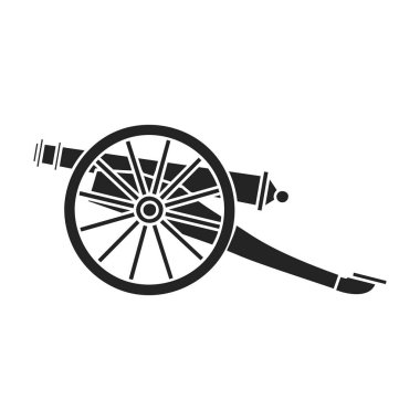 Cannon icon in black style isolated on white background. Museum symbol stock vector illustration.