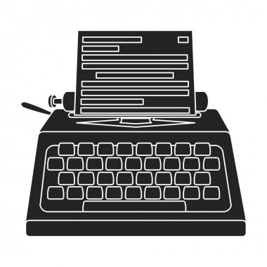 Typewriter icon in black style isolated on white background. Films and cinema symbol stock vector illustration.