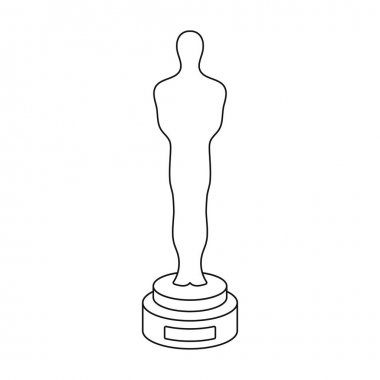 Academy award icon in outline style isolated on white background. Films and cinema symbol vector illustration. stock vector