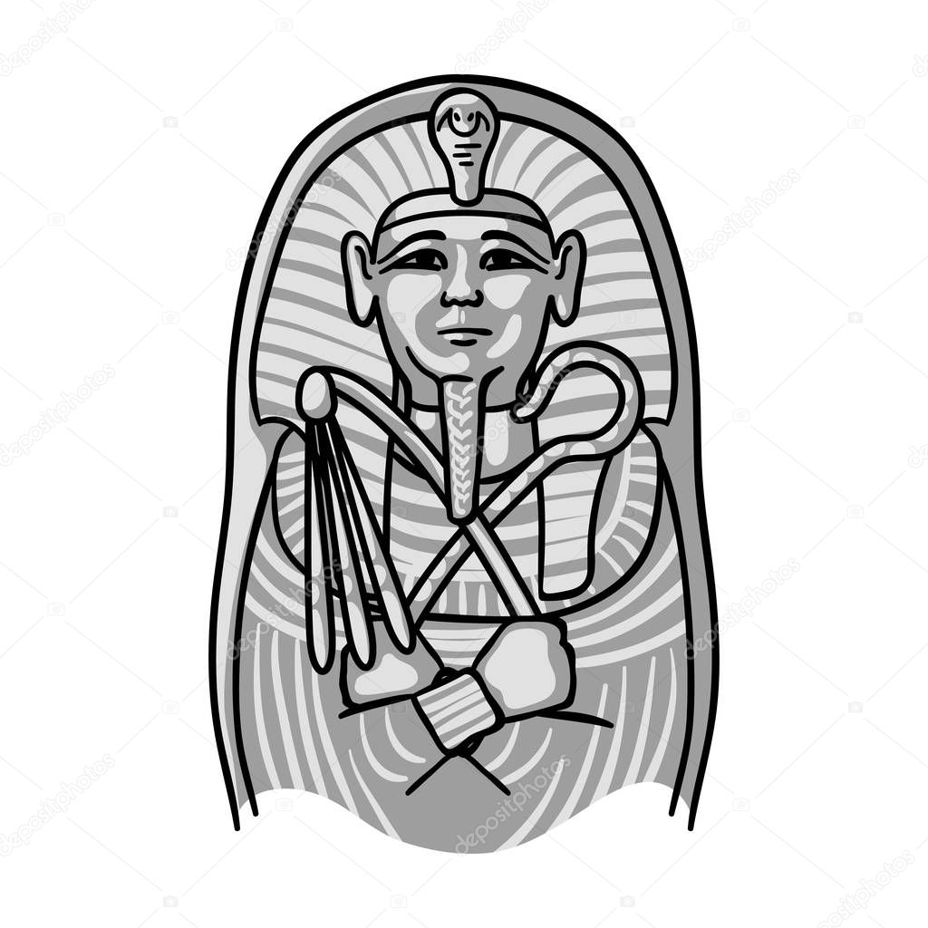 Egyptian Pharaoh Sarcophagus Icon In Monochrome Style Isolated On