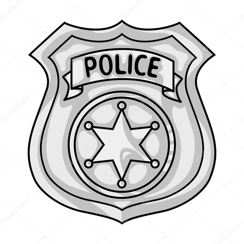 Oficial de policía icono insignia en estilo monocromo aislado sobre ...