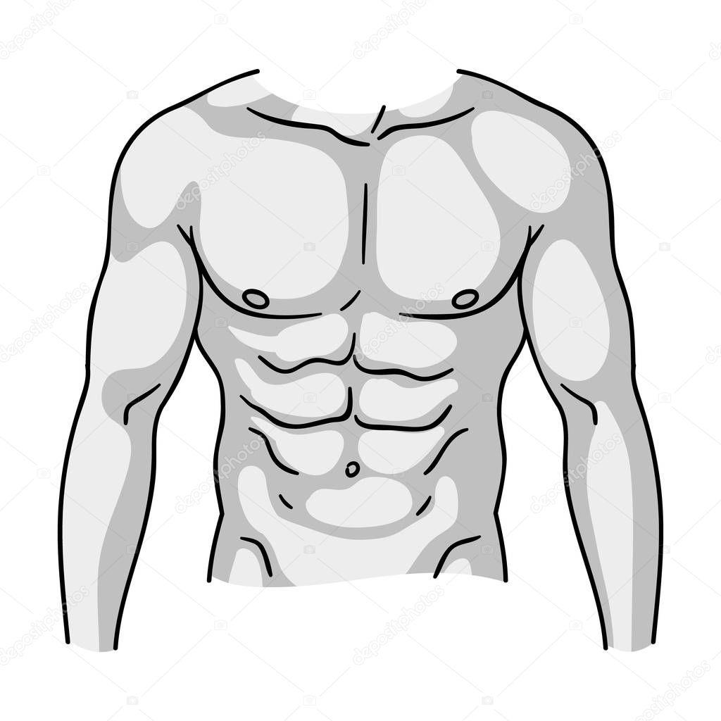 Muskulösen Oberkörper Symbol in monochromen Stil isoliert auf weißem ...