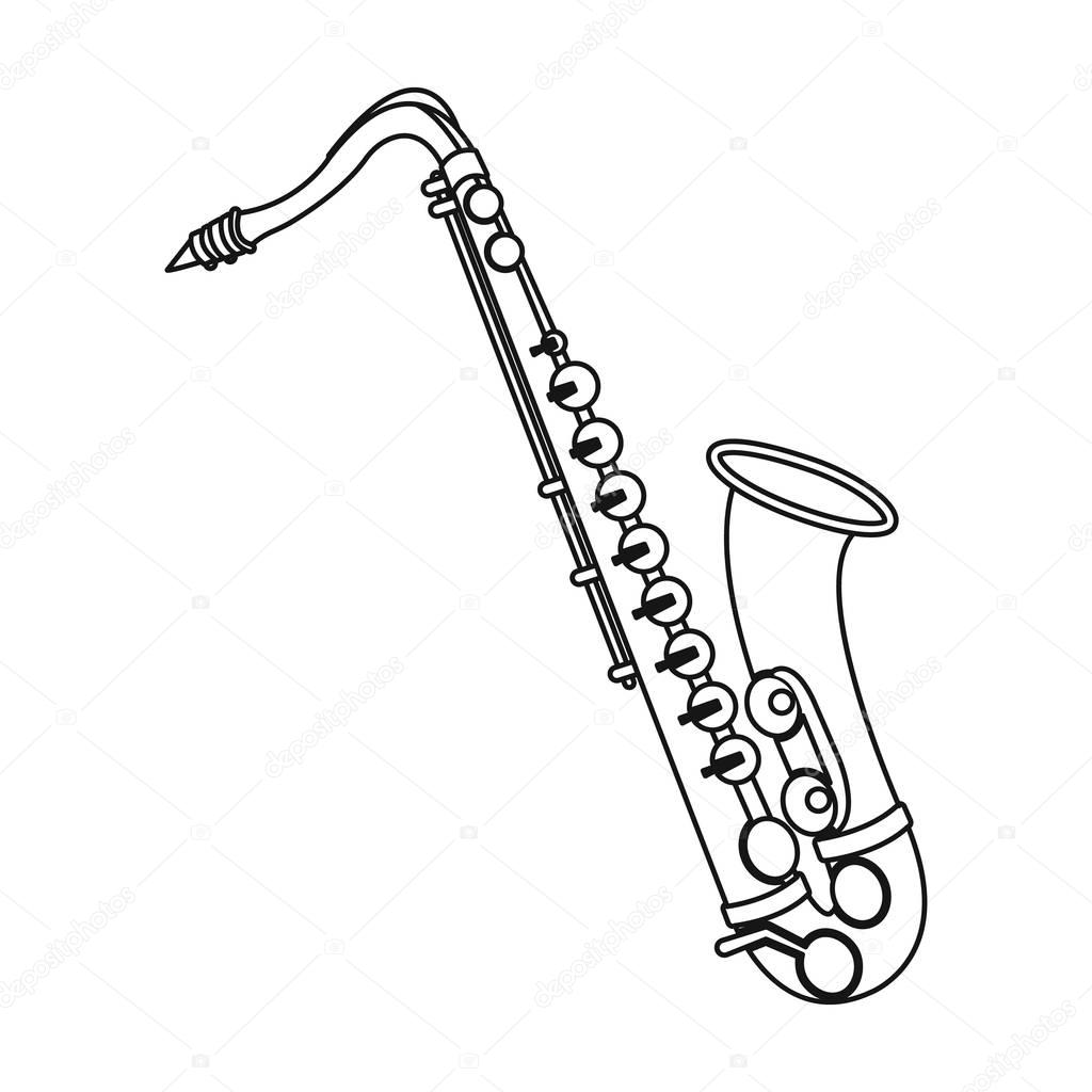 Saxophone Icon In Outline Style Isolated On White