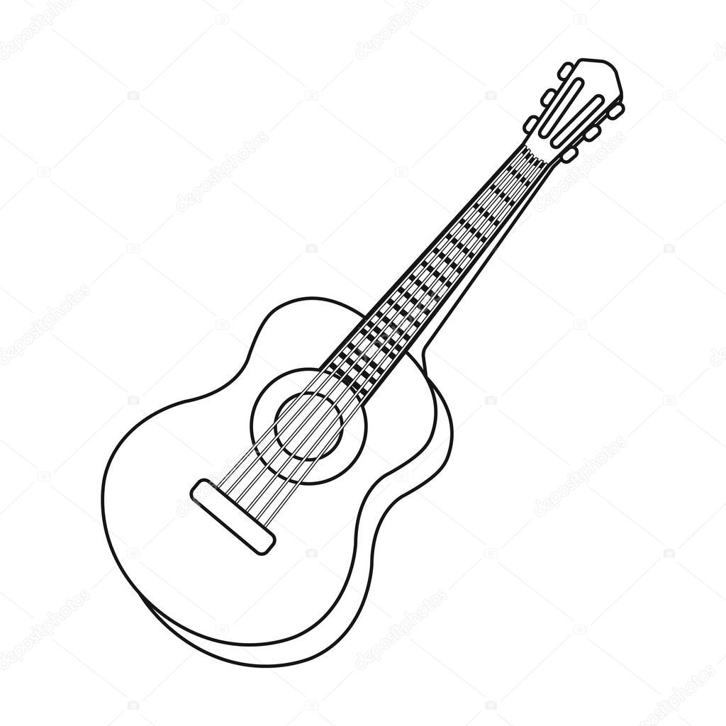 Acoustic Guitar Icon In Outline Style Isolated On White Background