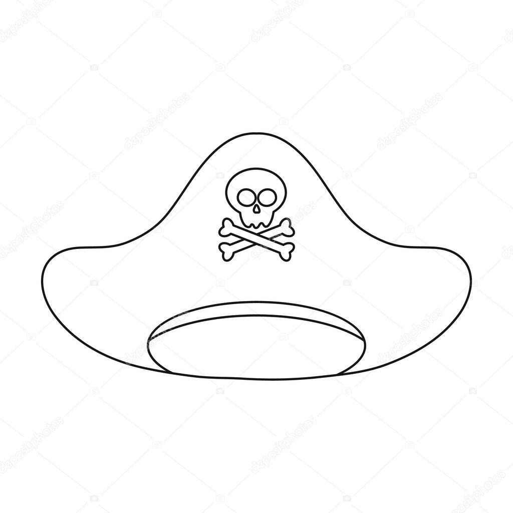 Korsan şapkası Simgesi Beyaz Arka Plan üzerinde Izole Anahat Tarzı