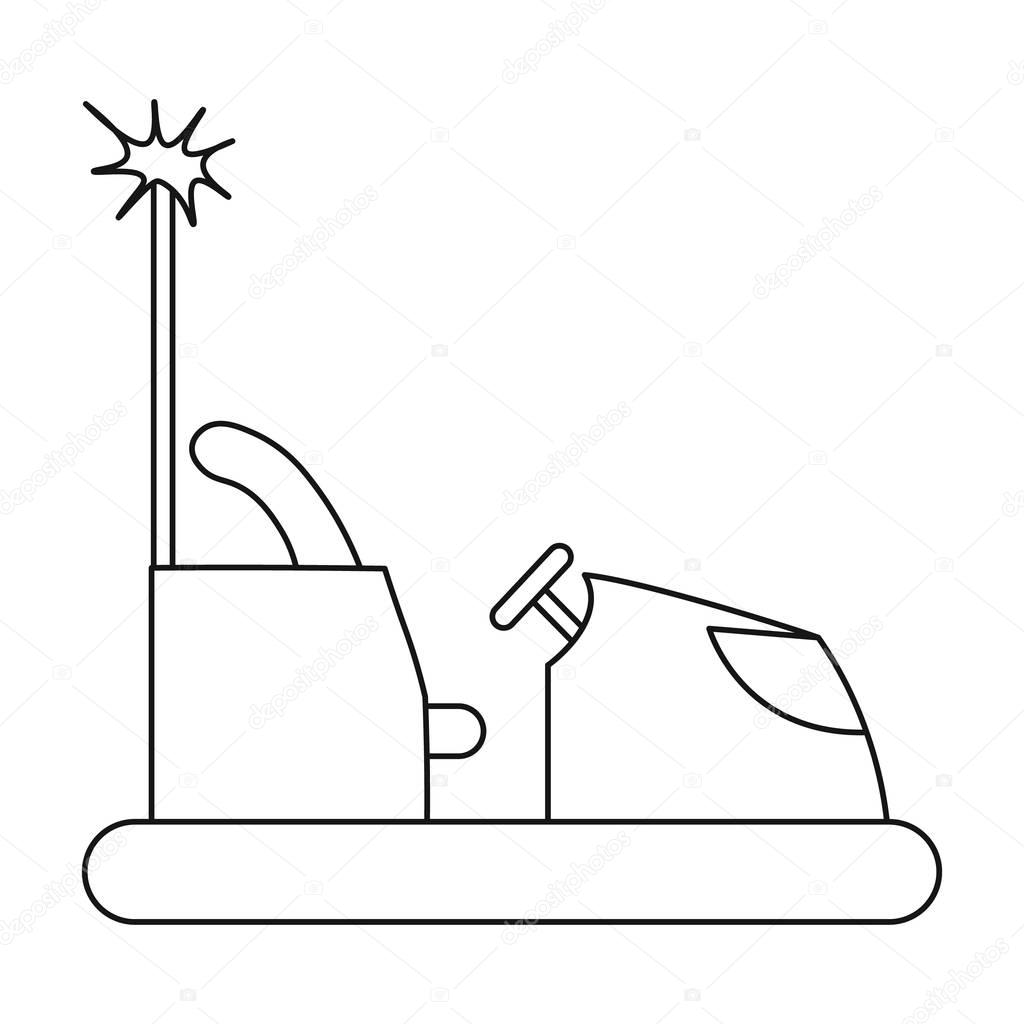 Bumper Car Icon In Outline Style Isolated On White Background Play