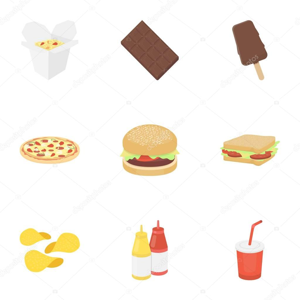 Fast Food Set Icons In Cartoon Style Big Collection Of Fast Food
