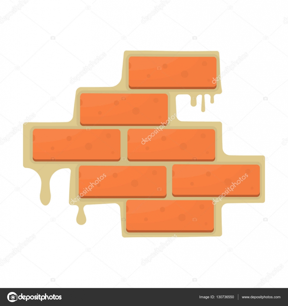Brick Wall Icon In Cartoon Style Isolated On White Background Build And Repair Symbol Stock