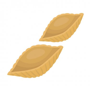 Conchiglie pasta icon in cartoon style isolated on white background. Types of pasta symbol stock vector illustration.