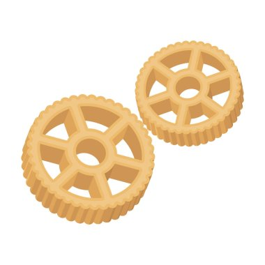 Rotelle pasta icon in cartoon style isolated on white background. Types of pasta symbol stock vector illustration.
