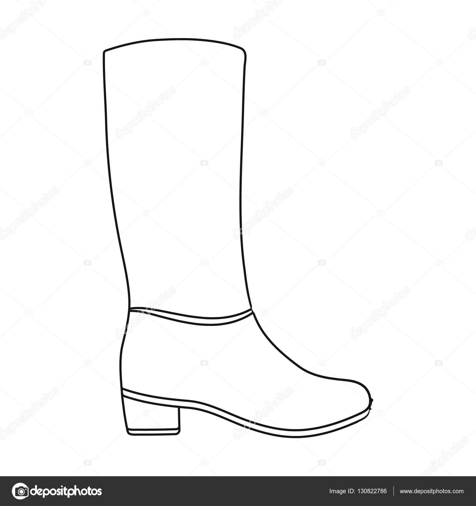 Rodilla Botas icono de estilo de contorno, aislado sobre