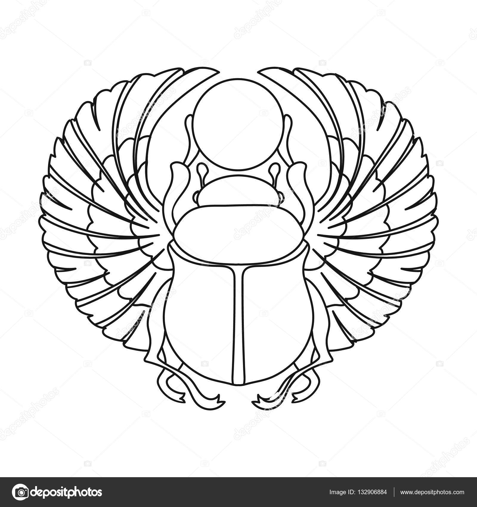 Scarab icon in outline style isolated on white background ...: http://depositphotos.com/132906884/stock-illustration-scarab-icon-in-outline-style.html