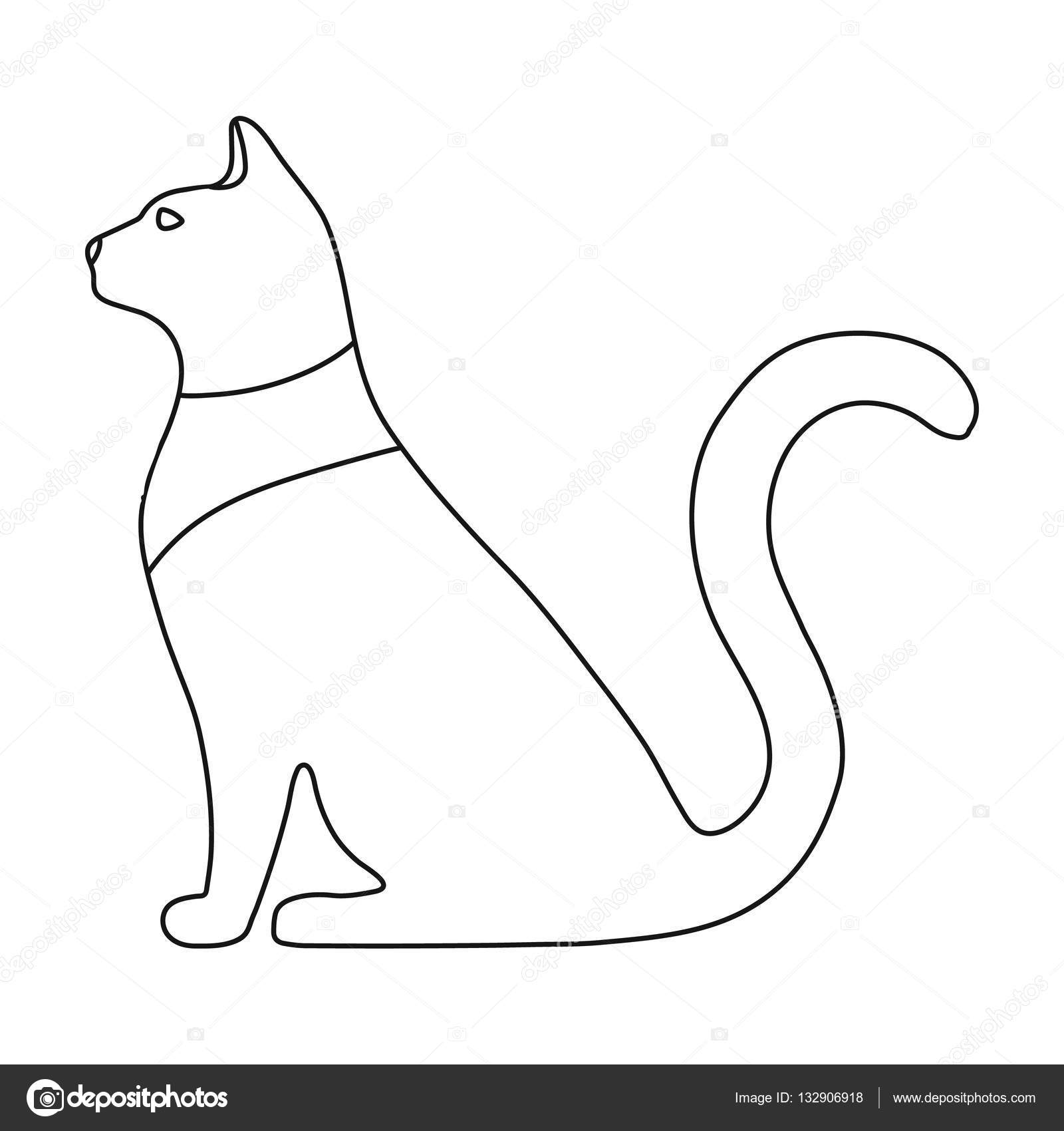 Cat Goddess Bastet Icon In Outline Style Isolated On White