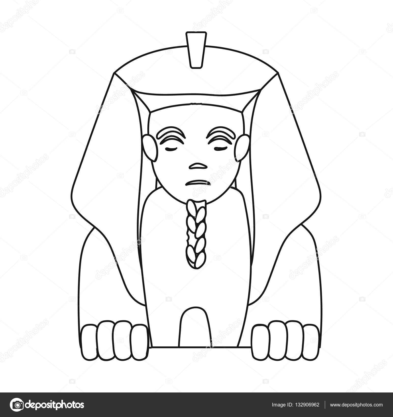 Traje Egipcio Para Colorear Icono De Esfinge En Contorno Estilo