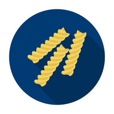 Fusilli icon pasta in flat style isolated on white background. Types of pasta symbol stock vector illustration.