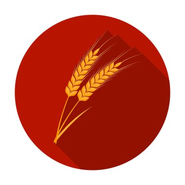 Ears of wheat pasta icon in flat style isolated on white background. Types of pasta symbol stock vector illustration.