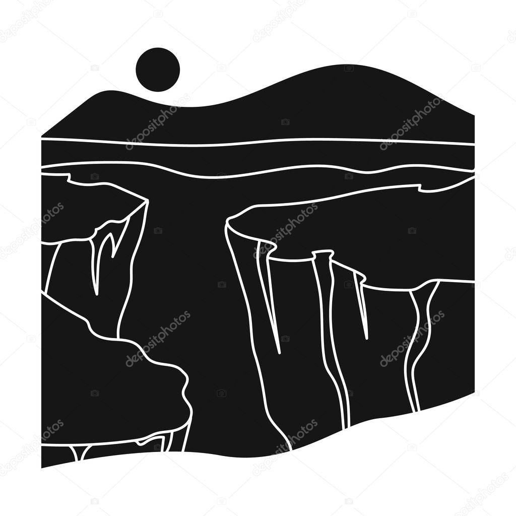 Grand Canyon icon in black style isolated on white background. USA country symbol stock vector illustration.