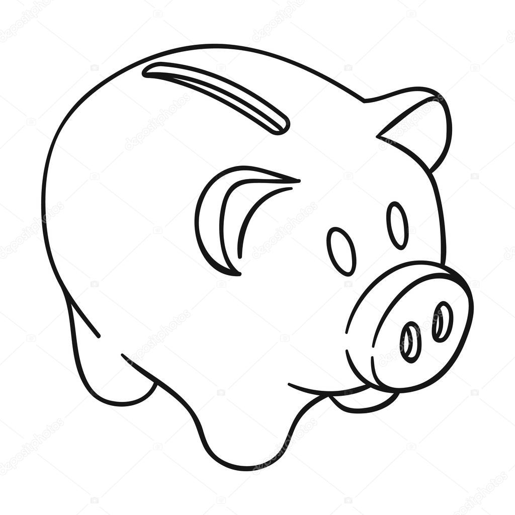 piggy bank icon in outline style isolated on white