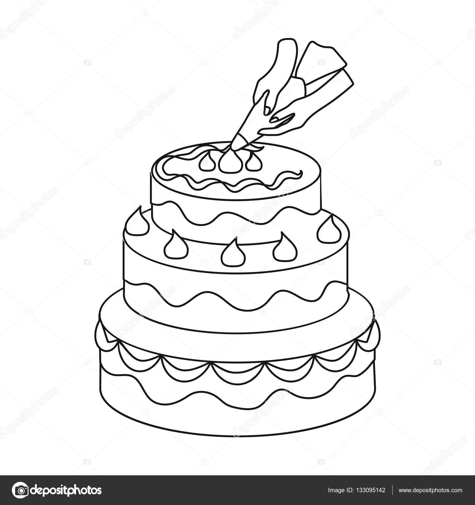 Decorating Of Birthday Cake Icon In Outline Style Isolated On White