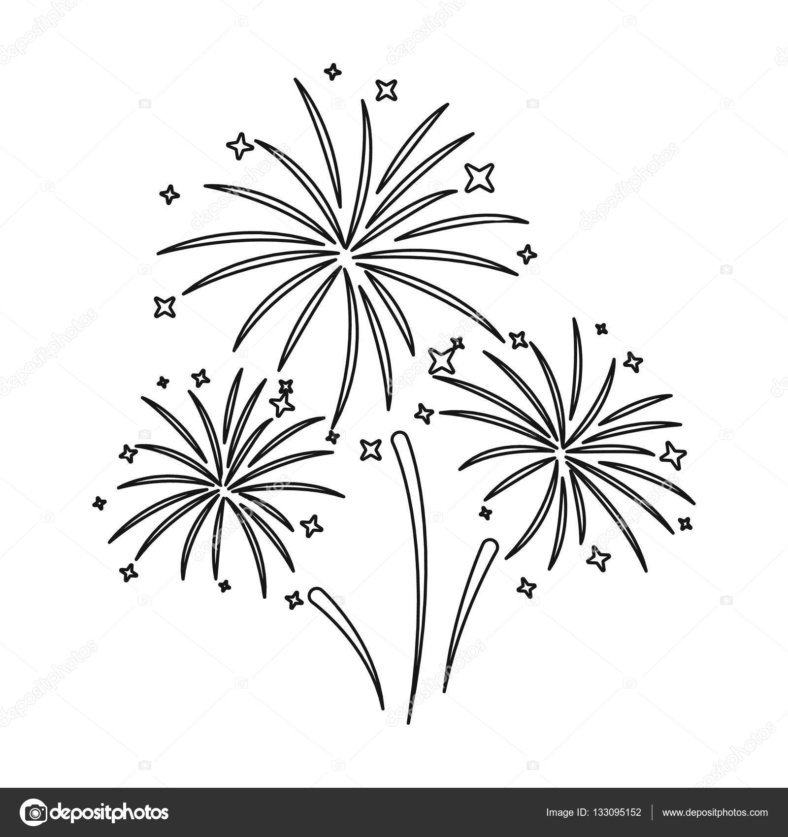 colorful fireworks icon in outline style isolated on white