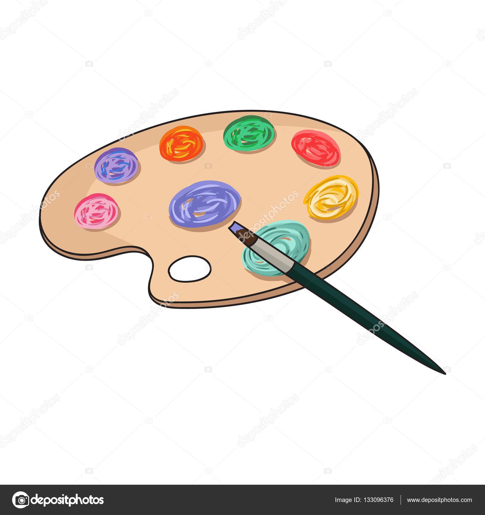 Paleta de pintura com cone de pincel no estilo cartoon - Paleta de pinturas ...