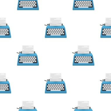 Typewriter icon in cartoon style isolated on white background. Films and cinema symbol stock vector illustration.