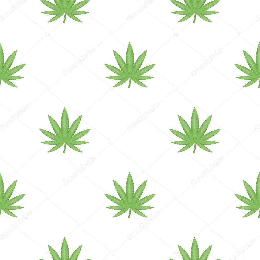 Marijuana leaf icon in cartoon style isolated on white background. Drugs symbol stock vector illustration.