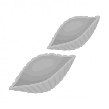 Conchiglie pasta icon in monochrome style isolated on white background. Types of pasta symbol stock vector illustration.