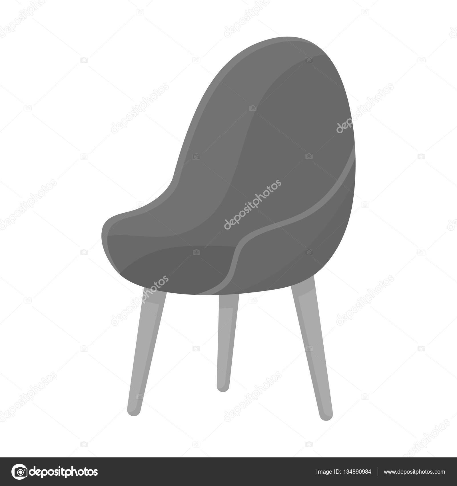 De Sur Fond Chaise Isolé Style Icône Rouge Dans Le Ovale Monochrome ybgf67