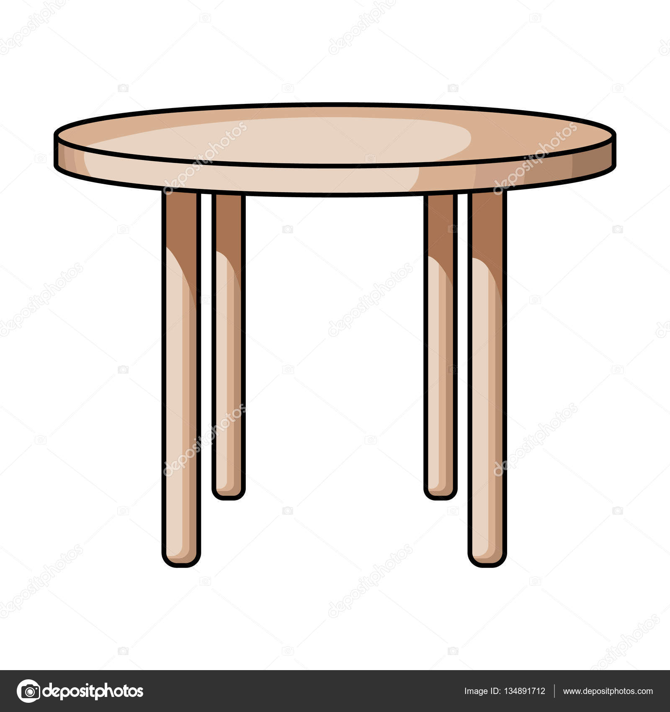 Mesa redonda madera icono en estilo de dibujos animados for Mesa de dibujo con luz