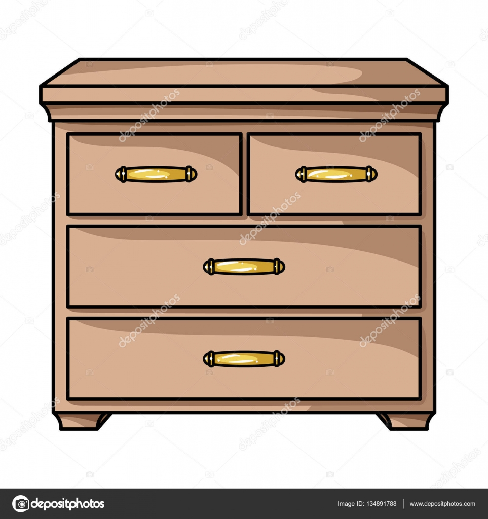 Wooden cabinet with drawers icon in cartoon style isolated ...
