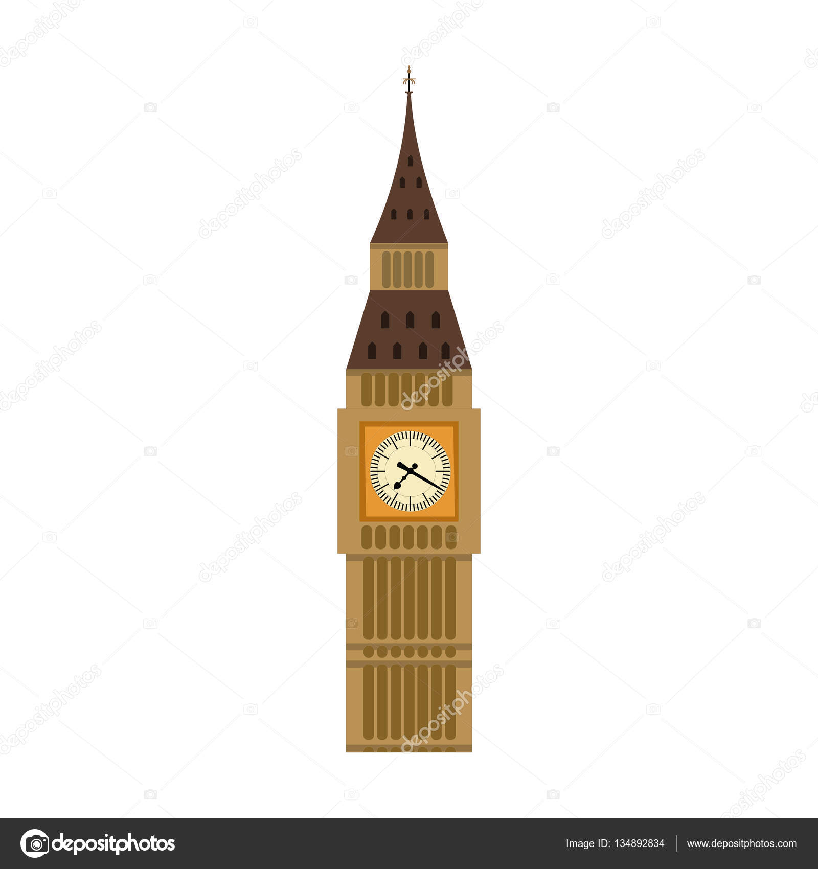 Big Ben icon in cartoon style isolated on white background ...